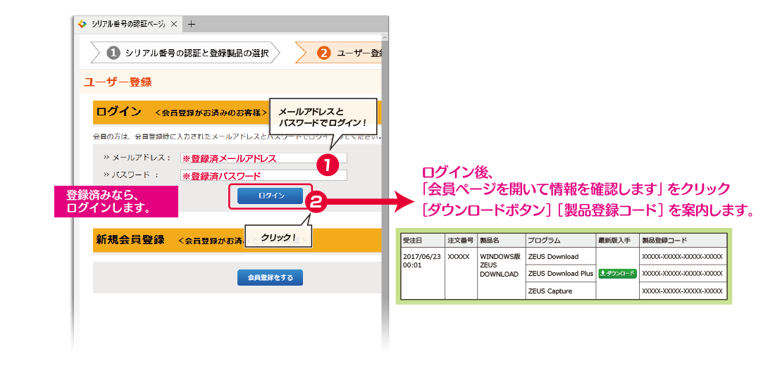ZEUS DOWNLOAD 製品ご利用までのご案内 ユーザーログイン